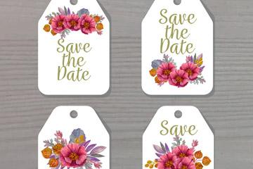 4款彩绘花卉婚礼吊牌矢量素材