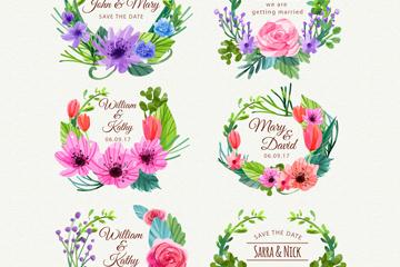 6款水彩绘花卉婚礼标签矢量素材