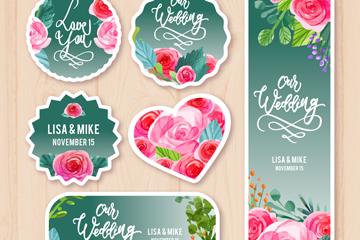 6款创意玫瑰婚礼标签矢量素材
