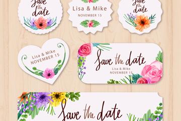 6款彩绘花朵婚礼标签矢量素材