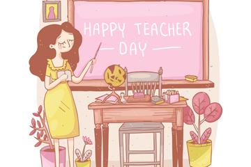 彩绘教师节课堂上的女老师矢量素材