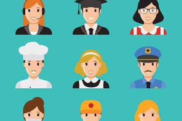 9款创意笑脸职业人物头像矢量素材