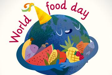彩绘世界粮食日怀抱食物的地球矢