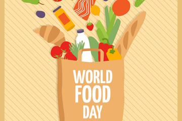 创意世界粮食日装满食物的购物袋矢量图