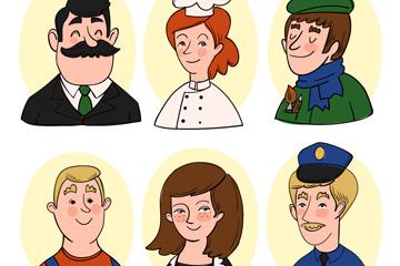 6款彩绘人物头像设计矢量素材