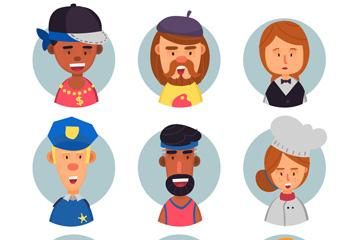 9款创意职业人物头像设计矢量素材