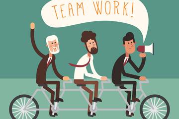 创意骑单车的团队合作男子矢量图