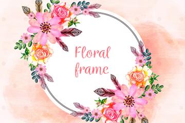 彩绘花卉框架矢量素材