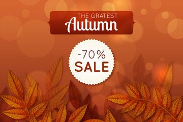 创意秋季树叶折扣海报矢量素材