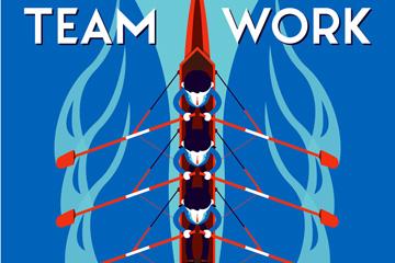 创意划赛艇的团队俯视图乐虎国际线上娱乐乐虎国际