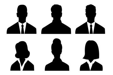 6款商务人物头像剪影矢量素材
