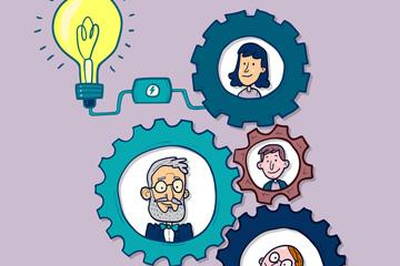 创意商务团队齿轮人物头像矢量图