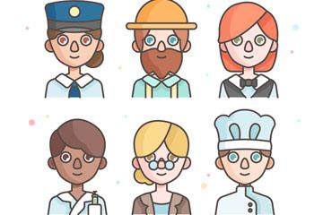 6款创意职业人物头像设计矢量素材