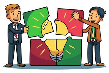 创意拼图的2个商务男子矢量图