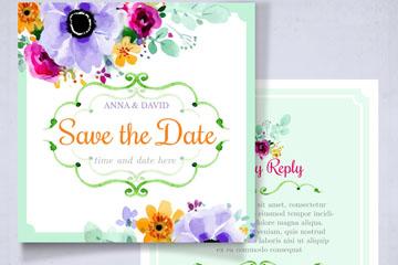 水彩绘花卉婚礼邀请卡正反面矢量