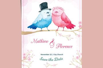 彩绘鸟新人婚礼邀请卡矢量素材