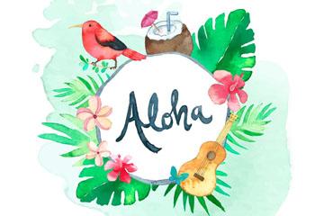 水彩绘夏威夷花鸟框架矢量素材