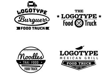4款黑色款餐车标志矢量素材