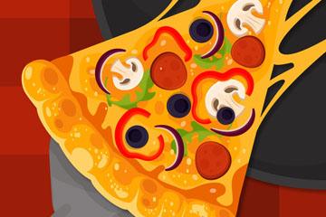 美味拉丝三角披萨矢量素材
