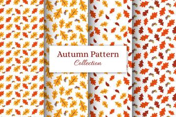 4款扁平化秋季树叶无缝背景矢量素材