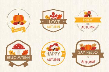 6款扁平化秋季元素标签矢量素材