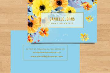 彩绘花卉商务名片正反面矢量素材