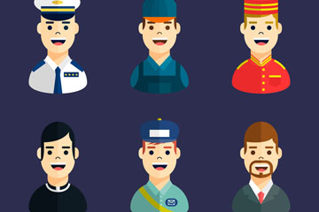 6款创意笑脸职业男子头像矢量图