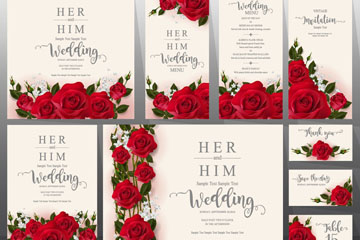 9款精美红玫瑰婚礼卡片矢量素材