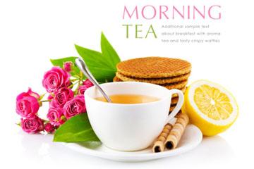 精美早茶和食物花卉矢量素材