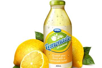 新鲜柠檬和柠檬汁饮料矢量素材