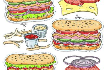 6款彩绘美味快餐贴纸矢量素材