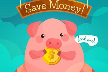 卡通粉色吃金币的储蓄罐猪矢量图