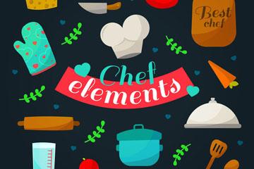14款彩色厨房元素矢量素材