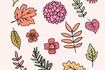14款彩绘秋季树叶和花卉矢量素材