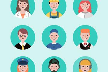 9款创意微笑职业人物头像矢量素材