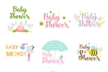 9款清新迎婴派对艺术字矢量素材