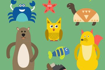 11款彩色动物设计矢量素材