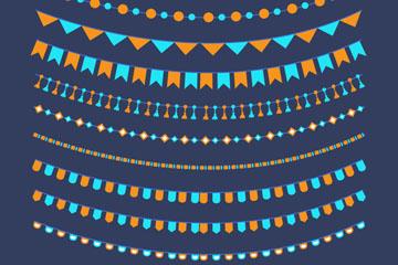 10款彩色生日派对拉旗矢量素材