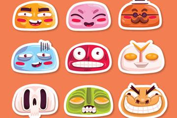 9款彩色搞怪包子脸表情贴纸矢量图