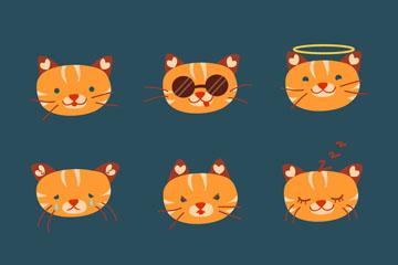 9款可爱橘色猫咪表情头像矢量素材