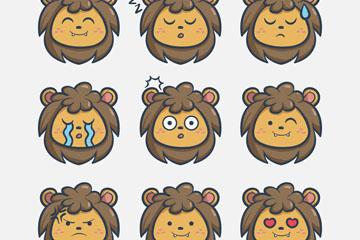 9款可爱狮子表情头像矢量素材