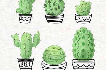 6款水彩绘仙人掌盆栽矢量素材