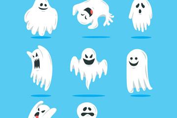 8款搞怪白色万圣节幽灵矢量素材