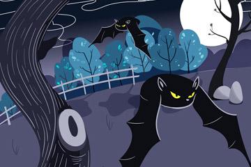 彩绘万圣节夜晚蝙蝠矢量素材