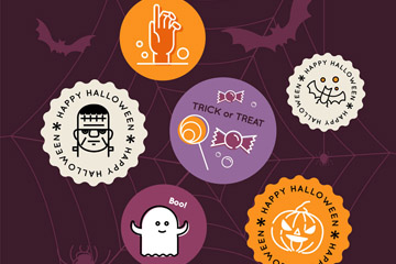 6款创意蜘蛛网上的万圣节标签矢