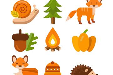 9款彩色秋季森林动植物矢量素材
