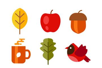 9款彩色秋季元素矢量素材