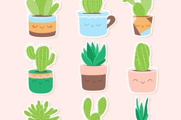 9款可爱仙人掌盆栽贴纸矢量图