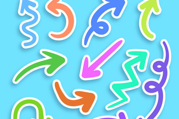 11款彩色箭�^�N�矢量素材