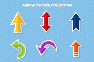9款彩色扁平化箭头贴纸矢量素材